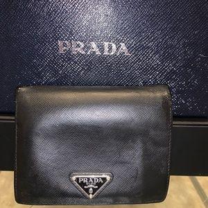Prada black Saffiano unisex bifold wallet